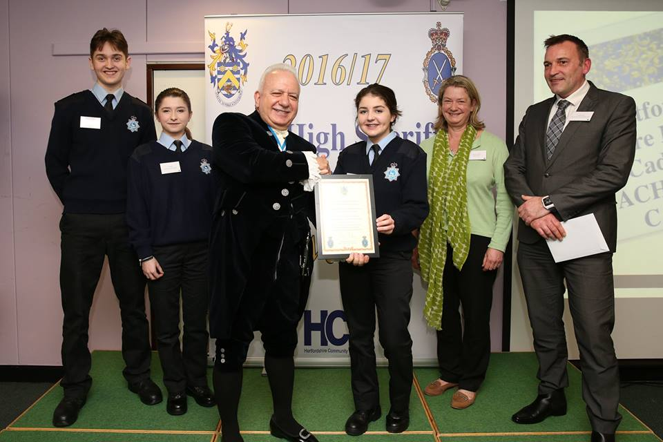 Hertfordshire Cadets receive High Sheriff Award