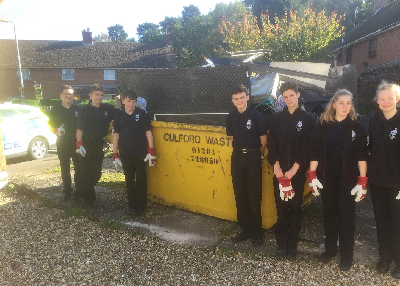 Suffolk Volunteer Police Cadets assist in clearing home for local resident