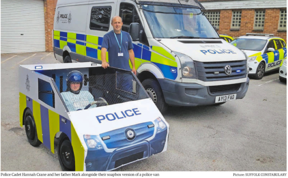 Suffolk police cadets create replica riot van for soapbox race